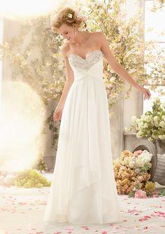 Mori Lee 6773 Sparkling chiffon wedding dress, Ivory Size 8