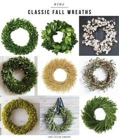 (via Rejuvenation) I love over-the-top seasonal porch decorations. You know the ones: corn stalks on either side of the door, stacks of pumpkins, piles of Fall Garland, Holiday Wreaths, Jones Design Company, Fall Door Decorations, Holiday Themes, Wreath Crafts, Crafty Craft, Corn Stalks, Fall Pumpkins