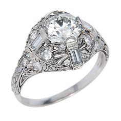 1STDIBS.COM Jewelry & Watches - Unknown - Art Deco Platinum & Diamond Ring - N. Green and Sons