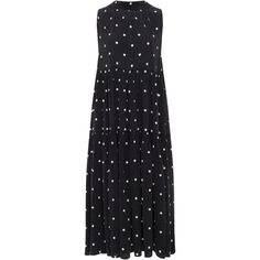 Asceno Polka Long Neck Tie Dress (12 630 UAH) ❤ liked on Polyvore featuring dresses, black, tie dress, long dresses, high neck dress, tiered dress and long day dresses
