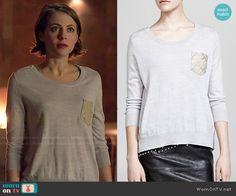 Thea's zip shoulder sweater on Arrow.  Outfit Details: http://wornontv.net/48482/ #Arrow