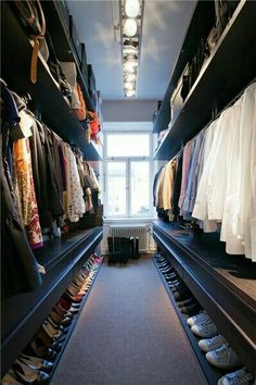long narrow walk in wardrobe designs with hanging rails and open shelving and shoes storage : Home Walk In Wardrobe Designs. home walk in wardrobe,walk in wardrobe designs,walk in wardrobe ideas,walk in wardrobe interiors,wardrobe walk in design Closet Walk-in, Master Closet, Closet Bedroom, Closet Space, Closet Ideas, Hallway Closet, Huge Closet, Bedroom Wardrobe, Bedroom Small