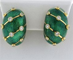 Tiffany & Co Schlumberger 18k Gold Green Enamel Diamond Earrings Available in the April 27 Auction on hamptonauction.com !!