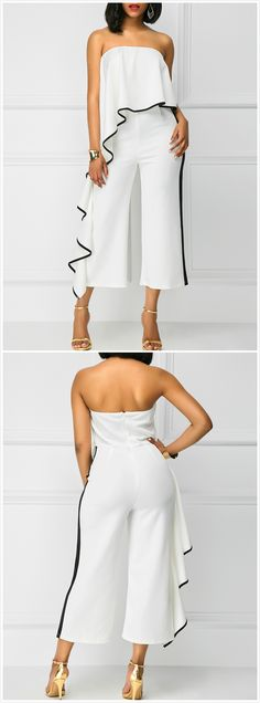 The jumpsuit is featuring strapless, ruffle decoration and wide leg style. Trendy Outfits, Cute Outfits, Fashion Outfits, Rompers Women, Jumpsuits For Women, Diva Fashion, Womens Fashion, Fashion Trends, Jumpsuit Elegante