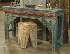 Arched console made from vintage arch! beautiful aged blue patina