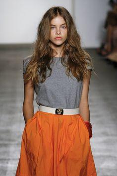 orange skirt + simple grey tee