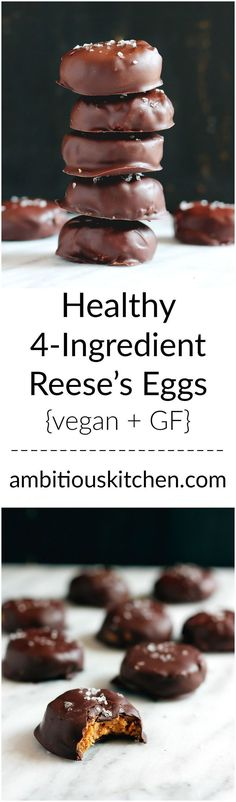 Healthy 4 Ingredient Reese's Eggs (gluten free, vegan) What are you waiting for? Making these easy healthy reese's eggs made with only 4 simple ingredients. They're low carb, gluten free, low sugar and have a glorious peanut butter middle! Gluten Free Baking, Vegan Baking, Gluten Free Desserts, Dairy Free Recipes, Vegan Gluten Free, Delicious Desserts, Yummy Food, Low Sugar Desserts, Lemon Desserts