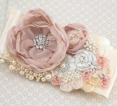 Bridal Sash Wedding Sash in Champagne Ivory and Blush by SolBijou