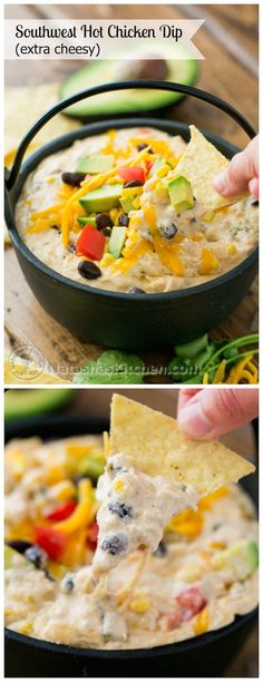 "Southwest Hot Chicken Dip (Extra Cheesy) For THM, use half the beans and no corn for a fabulous S snack. Eat with celery sticks, jicama slices or and S style ""cracker"". Appetizer Dips, Yummy Appetizers, Appetizer Recipes, Dip Recipes, Chicken Dips, Canned Chicken, Salad Chicken, Pasta Salad, Snacks Für Party"