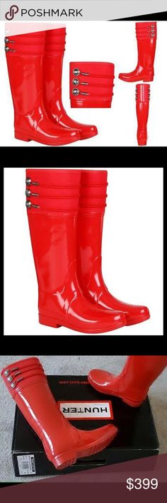 Stunningly Beautiful Hunter Regent Earlton Boots❤️ Featuring an equestrian-style last, the Regent Earlton boots have a canvas cuff with military detailing in place of the signature Hunter buckle. The glossy finish and vibrant pillar box red colour will brighten up the any outfit, no matter how dull the weather may be. Ultra rare find. New w/box. Hunter Boots Shoes Winter & Rain Boots