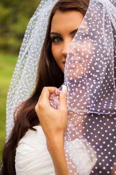 Eliza  White Polka Dot Wedding Veil by LumiereBridalShop on Etsy, $75.00