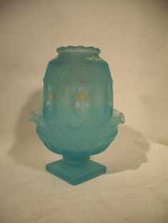 Fenton Glass Vtg Fairy Light Blue with Hand Painted Flowers Farie | eBay