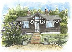 """""""Blackdown Cottage (Front View)"""" (watercolour - 28cm x 40.5cm (11"""" x 16""""))"""