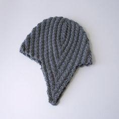 (6) Name: 'Knitting : Herringbone Rib Aviator Hat