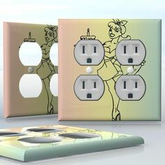 DIY Do It Yourself Home Decor - Easy to apply wall plate wraps | Birthday Pin_Up Girl  Sexy girl image on colorful background  wallplate skin sticker for 2 Gang Wall Socket Duplex Receptacle | On SALE now only $4.95