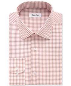I love men in pink! :) Calvin Klein STEEL Men's Classic-Fit Non-Iron Performance Sienna Check Dress Shirt