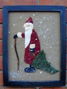Framed wool quilt pattern for Christmas. Nick Quilt Pattern by… Tree Quilt Pattern, Easy Quilt Patterns, Christmas Mom, Christmas Ornaments, Christmas Ideas, Wool Quilts, Halloween Mug, Easy Quilts, Wool Felt