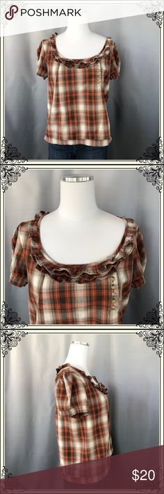 Kimchi Blue Brown/Tan Plaid Top #1016 This Kimchi Blue Top has adorable buttons and ruffle around neckline. It has a gathered waistline and is 100% cotton. EUC Urban Outfitters Tops Crop Tops
