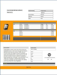20 best cellphone repair invoice template images on pinterest
