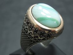 Turkish Handmade Ottoman Style 925 Sterling Silver Agate Stone Men's Ring by TolsanJewelry on Etsy