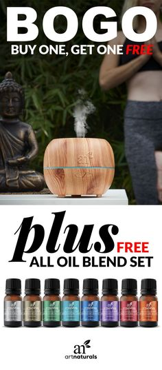 BOGO! Transform the quality of your home and office space into a pleasantly fragranced environment with our standard cool mist aromatherapy essential oil diffuser and Top 8 Essential Oil Blend Set. Get your set today!