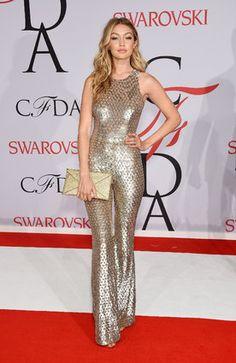 Gigi Hadid 2015 On CFDA Red Carpet Sequin Jumpsuit, Sequin Outfit, Golden Goddess, Fashion Shoot, Carpet Runner, Red Carpet, Awards, Sequins, Grey