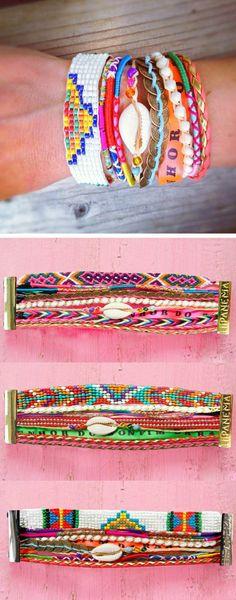 beaucoup de technique pour bracelet brésilien coloré