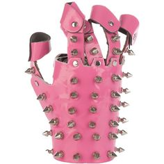 HAYATOCHIRI PINK SPIKE GLOVE ($150) ❤ liked on Polyvore featuring accessories, gloves, jewelry, pink, pink vinyl gloves, vinyl gloves, spiked fingerless gloves, spiked gloves and fingerless gloves