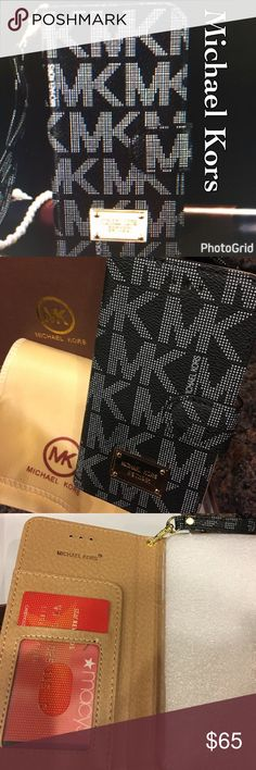 NIB Michael Kors IPHONE 7 Plus Leather Wallet Case IBeautiful Michael Kors iPhone 7 Plus wallet case magnetic closure holds three credit cards one for your drivers license beautiful functional case Michael Kors Accessories Phone Cases