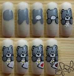 teddy bear nail art tutorial, cute!!