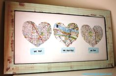 OK, so i changed it slightly and I love mine more :-) I did we met and we married on one side-a divider and then one of each of the cities our children were born so we have 5 hearts in all-LOVE IT!!!