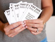 Free Toy Jail Printable Cards ~ These cards have one chore on them and a child can pick one, in order to get their toys that they left around the house out of Toy Jail! Mom Tips!