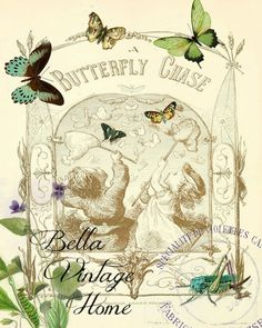 Butterfly Chase Print,  Pillow, Note Cards, Tea Towel