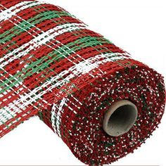 """Poly Burlap Plaid Check Color: Red, Lime Green, White Size: 10"""" width; 10 yards length Material: Poly Poly burlap resembles paper mesh or burlap, but made entirely of poly. Heavier"""