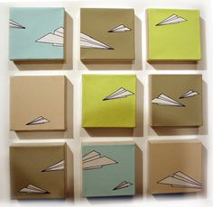 Jill Simonsen's paper planes from Well Hung @ White Walls Gallery. Another First Thursday/First Friday art weekend. So, so much to see and I really only skimmed the surface of the new shows t… Plane Drawing, Paper Crafts, Diy Crafts, Baby Decor, Kids Playing, Diys, Canvas Art, Nursery, Culture