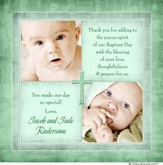 Free christening invitation templates baptism invitations seafoam green twin baptism day thank you card two photo layout with optional cross stopboris Gallery