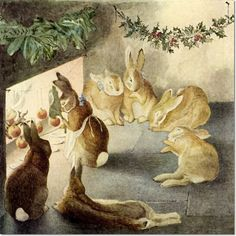 Beatrix Potter - Happenings in the Animal World - A Rabbits Christmas Party - After the Meal Painting