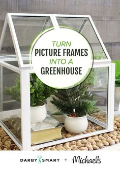 Turn picture frames into a greenhouse and give your plants a home with this genius DIY for garden lovers. Diy Mini Greenhouse, Greenhouse Pictures, Picture Frame Crafts, Picture Frame Sets, Crafts To Do, Diy Craft Projects, Plant Projects, Mary Moon, Dollar Tree Decor