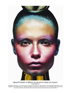 the face as canvas - Natasha Poly models futuristic and colorful beauty looks for the May issue of Vogue Paris