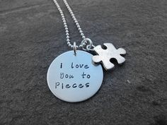 Hand Stamped Jewelry I Love You To Pieces Necklace Ready to ship. $49.90, via Etsy.