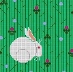 Bunny in the Clover Charley Harper needlepoint canvas