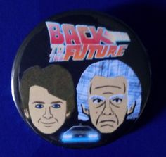 Back to the Future. Marty & The Doc. Custom 38mm Lin Badge. #backtothefuture #bttf #martymcfly #docbrown #michaeljfox #christopherlloyd