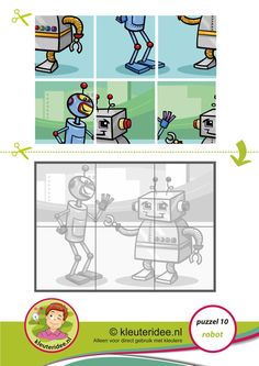 Puzzel robot, kleuteridee, 'Raar, maar waar!, kinderboekenweek 2015 thema techniek, Preschool robot puzzle, kleuteridee.nl,  free printable.
