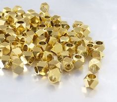 Faceted spacer 3.5mm solid metal beads gold plate by UniqueBeadsNY