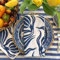 """Madeline Weinrib Blue Chelsea Blockprint Napkins paired with """"Madeline's Finds"""" Turkish Towel for a beautiful table setting."""