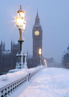 A very snowy lighted London.