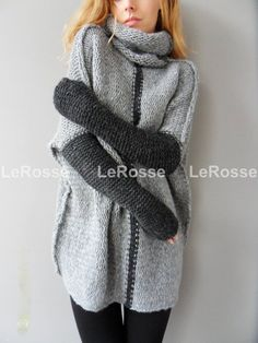 2017 autumn winter new Fashion Women pullover turtleneck sweaters Long betwing Sleeve patchwork loose casual long sweaters top Loose Knit Sweaters, Pullover Sweaters, Knitting Sweaters, Long Sweaters, Chunky Knitting Patterns, Baby Alpaca, Color Block Sweater, Black Knit, Ideias Fashion
