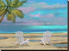 size: Stretched Canvas Print: Beach Chairs 01 by Rick Novak : Using advanced technology, we print the image directly onto canvas, stretch it onto support bars, and finish it with hand-painted edges and a protective coating. Deep Box Frames, Frames On Wall, Framed Wall Art, Framed Prints, Fall Mantel Decorations, Painting Edges, Beach Chairs, Stretched Canvas Prints, Online Art Gallery