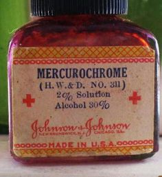 We called it monkey blood. Fall down at recess, sent to the nurse's office, it burned like fire!  No wonder, it was 30% alcohol. My Memory, Whiskey Bottle, Barware, Life, Boo Boos, Red Stuff, Antiques, Vintage Stuff, Vintage Toys