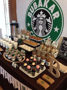 Starbucks Starbucks Cafe Dessert Bar Party Ideas Photo 10 of 10 Catch My Party Sleepover Birthday Parties, Birthday Party For Teens, Sweet 16 Birthday, Birthday Party Themes, Birthday Party Ideas For Teens 13th, Teen Girl Birthday, Teen Party Themes, Sleepover Snacks, Sleepover Room
